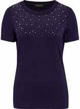 Anna Rose Embellished Jersey Top Navy - Gallery Image 1