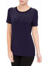 Anna Rose Embellished Jersey Top Navy - Gallery Image 2