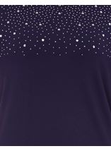 Anna Rose Embellished Jersey Top Navy - Gallery Image 4