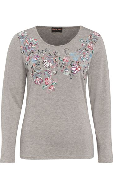 Anna Rose Embellished Jersey Top Grey Marl