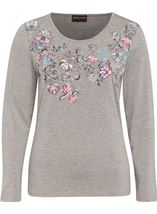 Anna Rose Embellished Jersey Top Grey Marl - Gallery Image 1