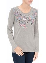 Anna Rose Embellished Jersey Top Grey Marl - Gallery Image 2