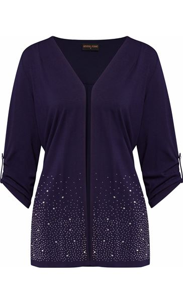 Anna Rose Embellished Jersey Cover Up Navy
