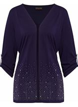 Anna Rose Embellished Jersey Cover Up Navy - Gallery Image 1