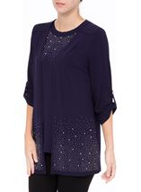 Anna Rose Embellished Jersey Cover Up Navy - Gallery Image 2