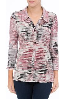 Anna Rose Printed Pleat Blouse With Necklace - Multi