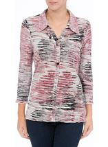 Anna Rose Printed Pleat Blouse With Necklace Multi - Gallery Image 2
