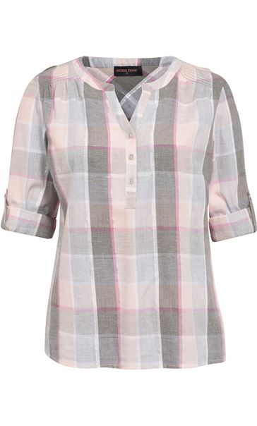 Anna Rose Lurex Trim Check Top Grey/Pink