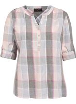 Anna Rose Lurex Trim Check Top Grey/Pink - Gallery Image 1