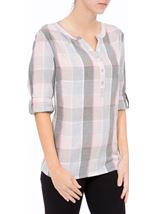 Anna Rose Lurex Trim Check Top Grey/Pink - Gallery Image 2