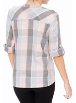 Anna Rose Lurex Trim Check Top Grey/Pink - Gallery Image 3