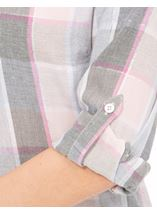 Anna Rose Lurex Trim Check Top Grey/Pink - Gallery Image 4