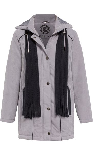 Anna Rose Hooded Coat With Scarf Steel