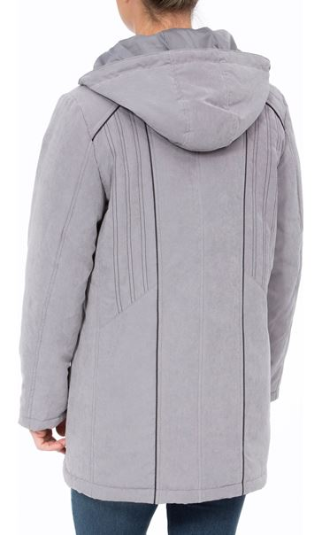 Anna Rose Hooded Coat With Scarf Steel - Gallery Image 3