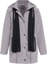 Anna Rose Hooded Coat With Scarf Steel - Gallery Image 1