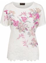 Anna Rose Embellished Print Top Ivory Multi - Gallery Image 1
