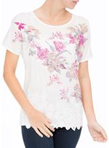 Anna Rose Embellished Print Top Ivory Multi - Gallery Image 2