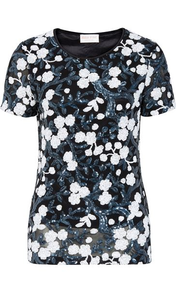Anna Rose Short Sleeve Sequinned Top Navy/White