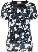 Anna Rose Short Sleeve Sequinned Top Navy/White - Gallery Image 1