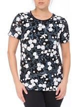 Anna Rose Short Sleeve Sequinned Top Navy/White - Gallery Image 2