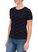 Anna Rose Short Sleeve Textured Embellished Top Navy - Gallery Image 2