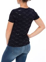 Anna Rose Short Sleeve Textured Embellished Top Navy - Gallery Image 3