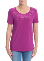 Anna Rose Embellished Short Sleeve Top Magenta - Gallery Image 2