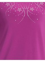 Anna Rose Embellished Short Sleeve Top Magenta - Gallery Image 4