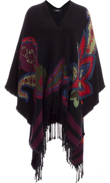 Printed Knit Shawl Black/Red/Purple