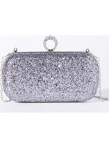 Embellished Glitter Box Clutch Bag Metallic - Gallery Image 1