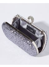 Embellished Glitter Box Clutch Bag Silver - Gallery Image 2