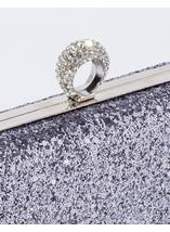 Embellished Glitter Box Clutch Bag Silver - Gallery Image 3
