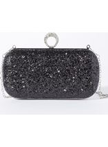 Embellished Glitter Box Clutch Bag