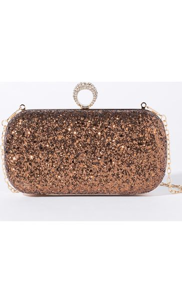 Embellished Glitter Box Clutch Bag Metallic