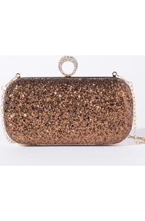 Embellished Glitter Box Clutch Bag - Metallic