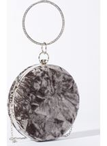 Circular Crushed Velvet Clutch Bag Silver - Gallery Image 1