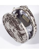 Circular Crushed Velvet Clutch Bag Silver - Gallery Image 2