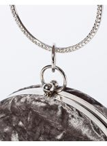 Circular Crushed Velvet Clutch Bag Silver - Gallery Image 3