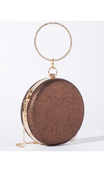 Circular Shimmer Clutch Bag Gold