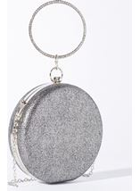 Circular Shimmer Clutch Bag Silver - Gallery Image 1