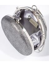 Circular Shimmer Clutch Bag Silver - Gallery Image 2