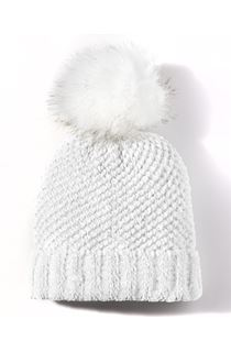 Faux Fur Bobble Hat - White