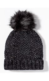 Faux Fur Bobble Hat Black - Gallery Image 1