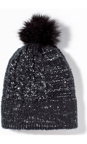 Faux Fur Bobble Hat Black