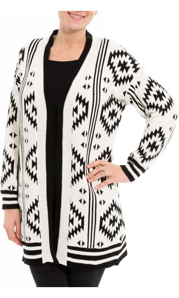 Aztec Knitted Open Cardigan Black/Ivory