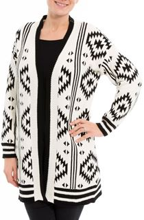 Aztec Knitted Open Cardigan
