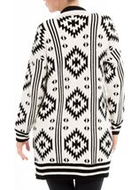 Aztec Knitted Open Cardigan Black/Ivory - Gallery Image 2