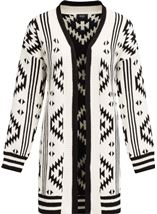 Aztec Knitted Open Cardigan Black/Ivory - Gallery Image 3