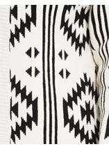 Aztec Knitted Open Cardigan Black/Ivory - Gallery Image 4