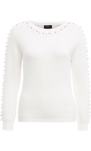 Faux Pearl Embellished Knitted Top Ivory
